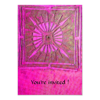 MORNING STAR , bright pink,violet white 5x7 Paper Invitation Card