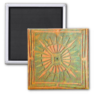 MORNING STAR Brown Green 2 Inch Square Magnet