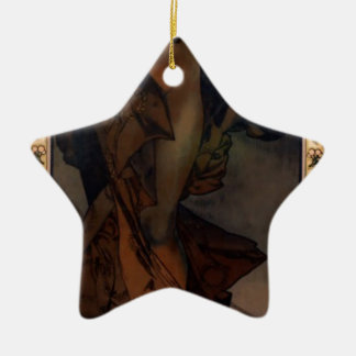 Morning Star by Alphonse Mucha Double-Sided Star Ceramic Christmas Ornament