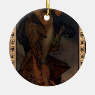 Morning Star by Alphonse Mucha Double-Sided Ceramic Round Christmas Ornament