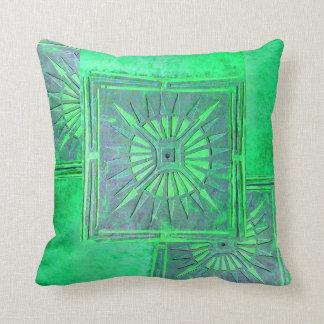 MORNING STAR , GreenTurquase Throw Pillow