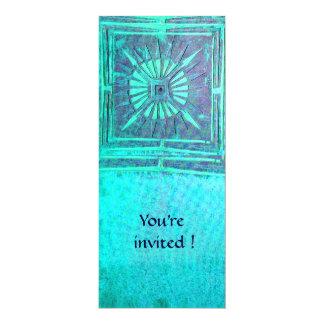 MORNING STAR , light blue teal,white 4x9.25 Paper Invitation Card