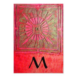 MORNING STAR  MONOGRAM , antique bright red 5x7 Paper Invitation Card
