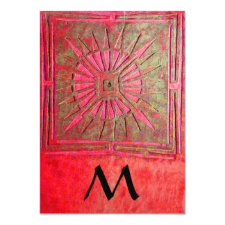 MORNING STAR  MONOGRAM , antique bright red 5x7 Paper Invitation Card