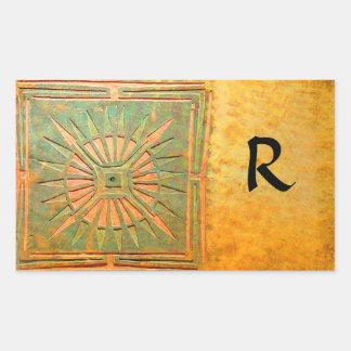 MORNING STAR MONOGRAM , antique yellow,brown,green Rectangular Sticker