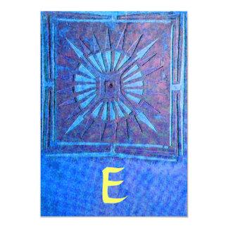 MORNING STAR  MONOGRAM , bright blue,yellow 5x7 Paper Invitation Card