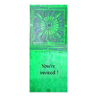 MORNING STAR  MONOGRAM , bright light green 4x9.25 Paper Invitation Card