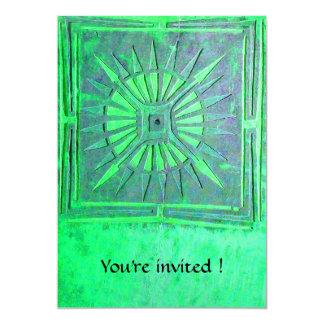 MORNING STAR  MONOGRAM , bright light green 5x7 Paper Invitation Card