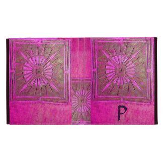 MORNING STAR MONOGRAM Pink Fuchsia Purple, Violet iPad Folio Cover