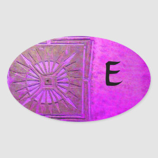 MORNING STAR MONOGRAM ,pink violet,purple Oval Sticker