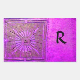 MORNING STAR MONOGRAM ,pink violet,purple Rectangular Sticker