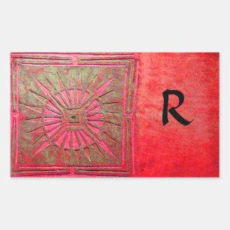 MORNING STAR MONOGRAM ,red,green Rectangular Sticker