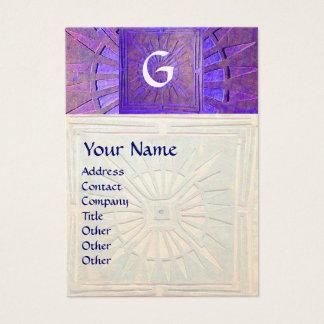 MORNING STAR , MONOGRAM, white pearl blue purple Business Card