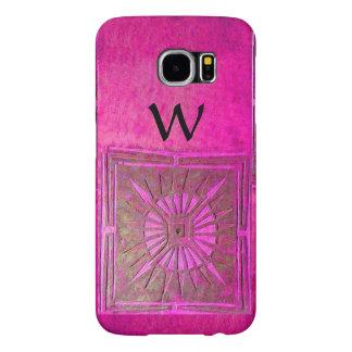 MORNING STAR , Pink,Black,Fuchsia Monogram Samsung Galaxy S6 Case
