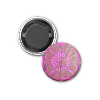 MORNING STAR Pink,Fuchsia Black, Monogram 1 Inch Round Magnet
