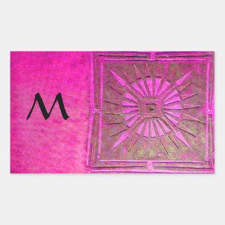 MORNING STAR Pink,Fuchsia Black, Monogram Rectangular Sticker