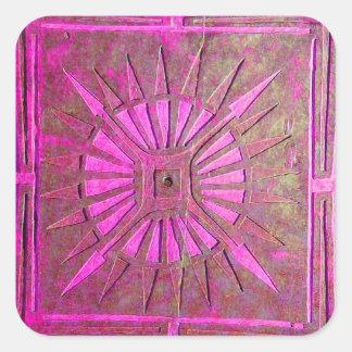 MORNING STAR Pink,Fuchsia Black, Monogram Square Sticker