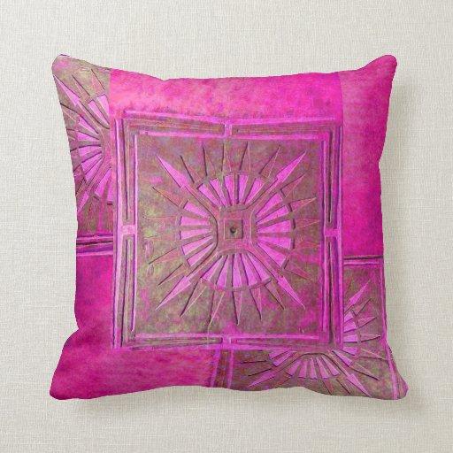 MORNING STAR Pink ,Fuchsia Throw Pillows