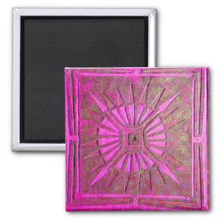 MORNING STAR ,pink violet 2 Inch Square Magnet