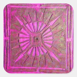 MORNING STAR ,pink violet,purple,fuchsia Square Sticker