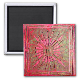 MORNING STAR ,red green 2 Inch Square Magnet