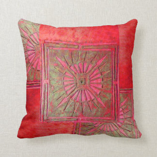 MORNING STAR , Red Green Throw Pillow