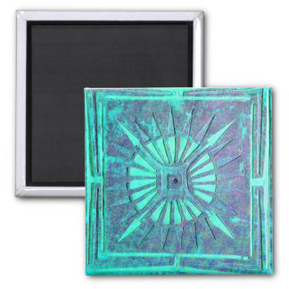 MORNING STAR,Turquase Blue Green ,Teal 2 Inch Square Magnet