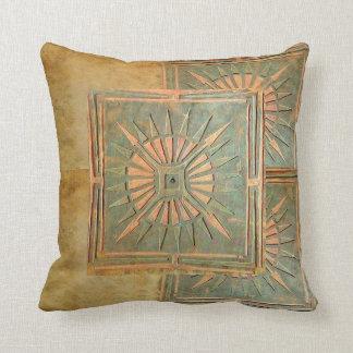 MORNING STAR yellow,green,brown Throw Pillow
