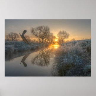 Morning sun burns the mist off Beverly Brook Poster