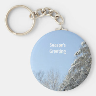 Morning Sun on Snow Covered Trees Keychain