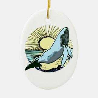 Morning sun whale 2 ceramic ornament