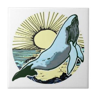 Morning sun whale 2 ceramic tile