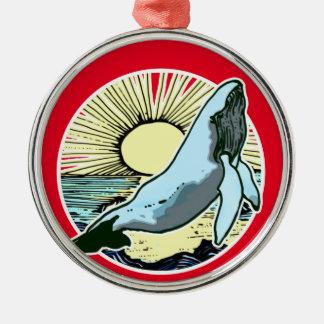 Morning sun whale 2 metal ornament
