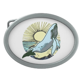 Morning sun whale 2 oval belt buckle
