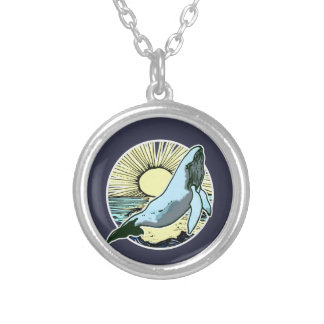 Morning sun whale 2 silver plated necklace
