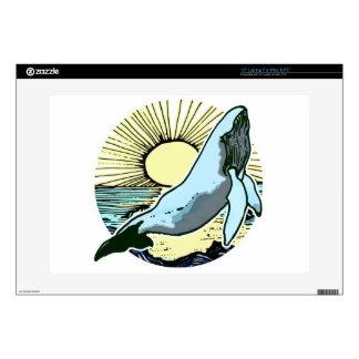 """Morning sun whale 2 skins for 15"""" laptops"""