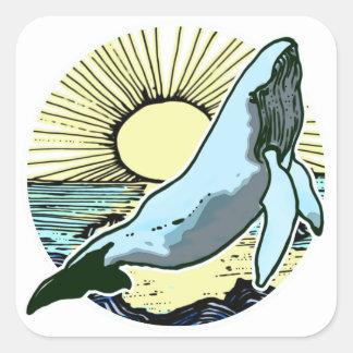 Morning sun whale 2 square sticker