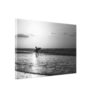 Morning Surfer Grayscale Canvas Print