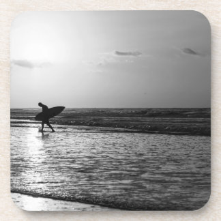 Morning Surfer Grayscale Coaster