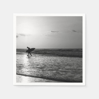 Morning Surfer Grayscale Napkin