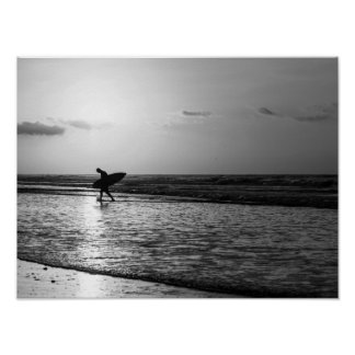 Morning Surfer Grayscale Poster