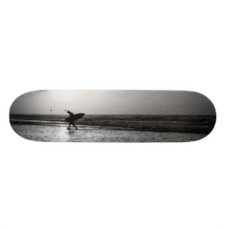Morning Surfer Grayscale Skateboard Deck