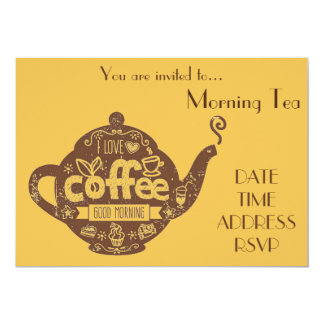"Morning Tea retro coffee date cafe party 5"" X 7"" Invitation Card"