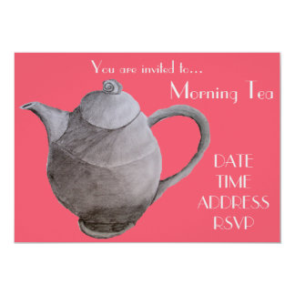 "Morning Tea retro vintage date cafe party 5"" X 7"" Invitation Card"