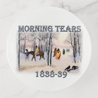 Morning Tears depicts the Cherokee Trail of1838-39 Trinket Trays