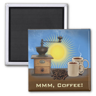 Morning to Evening Coffee 2 Inch Square Magnet