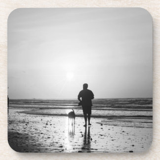 Morning Walk Grayscale Beverage Coaster