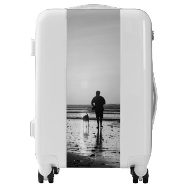 Beach Themed Morning Walk Grayscale Luggage