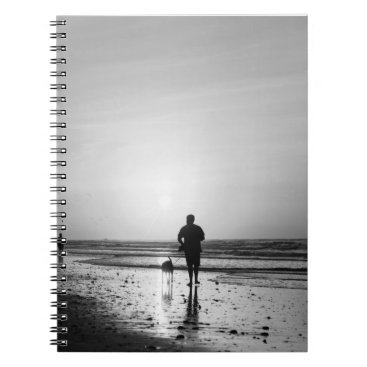 Beach Themed Morning Walk Grayscale Notebook
