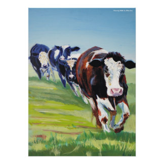 'Morning Walk'  Holstein Friesian cow painting Print